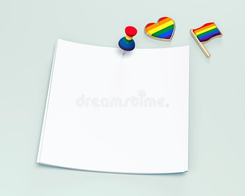 Leeres Papierquadrat mit Kopienraum f?r Ihren Text, der mit Regenbogen festgesteckt wurde, f?rbte Stift und Flagge und Herz des h stock abbildung