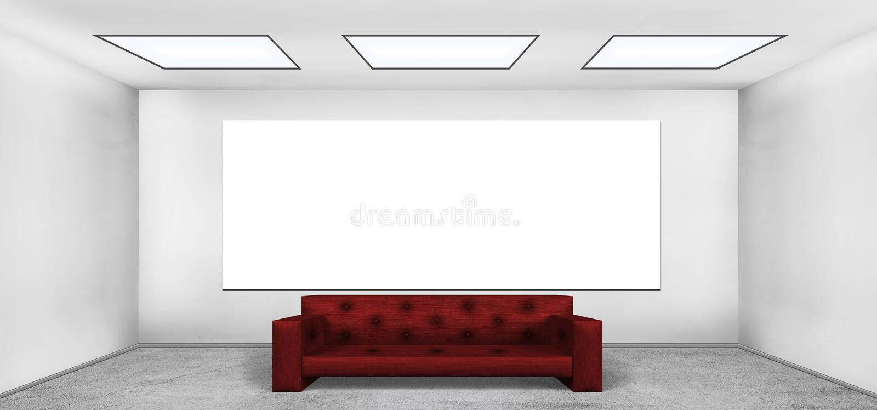 Leeres Plakat im leeren Dachbodenraum stock abbildung