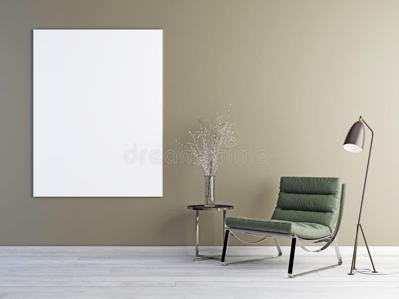 Leeres Plakat, skandinavischer Designinnenraum vektor abbildung