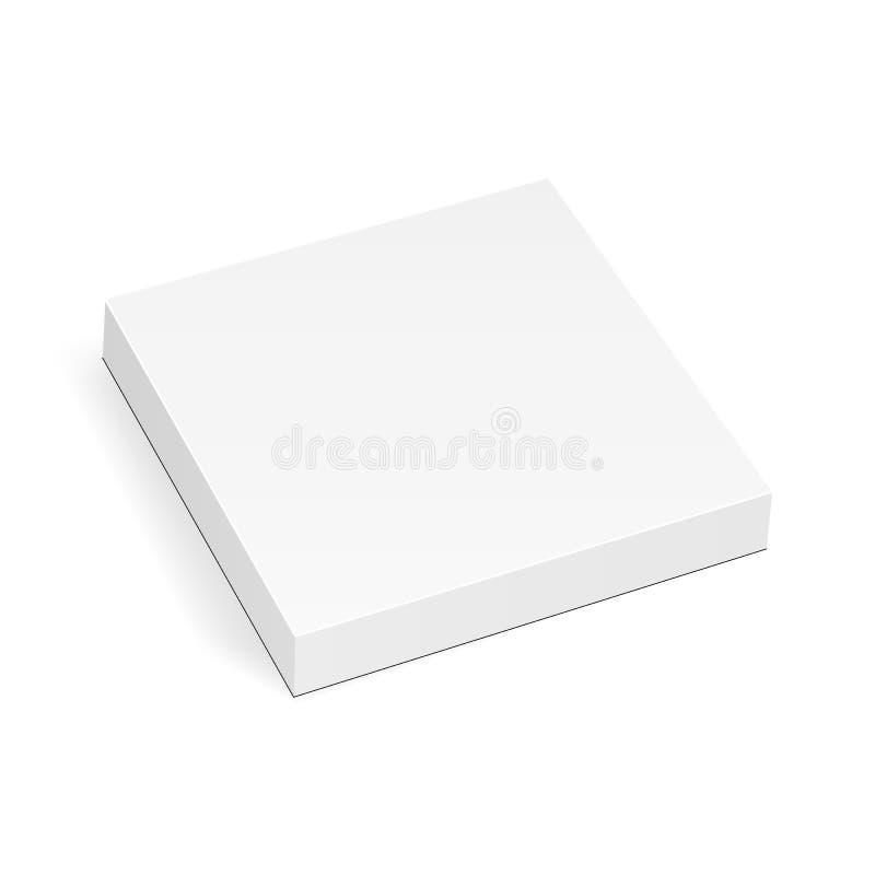 Leeres quadratisches dünnes Kastenmodell lokalisiert auf weißem Hintergrund stock abbildung