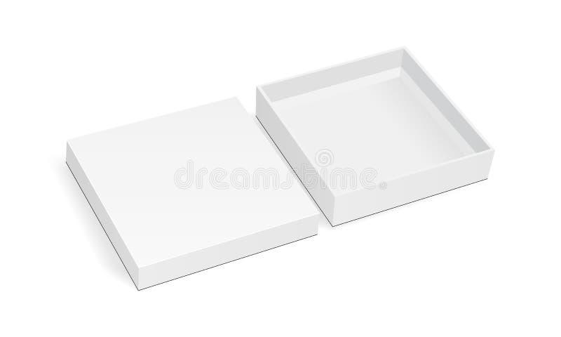 Leeres quadratisches dünnes Kastenmodell mit dem Deckel lokalisiert auf weißem Hintergrund lizenzfreie abbildung