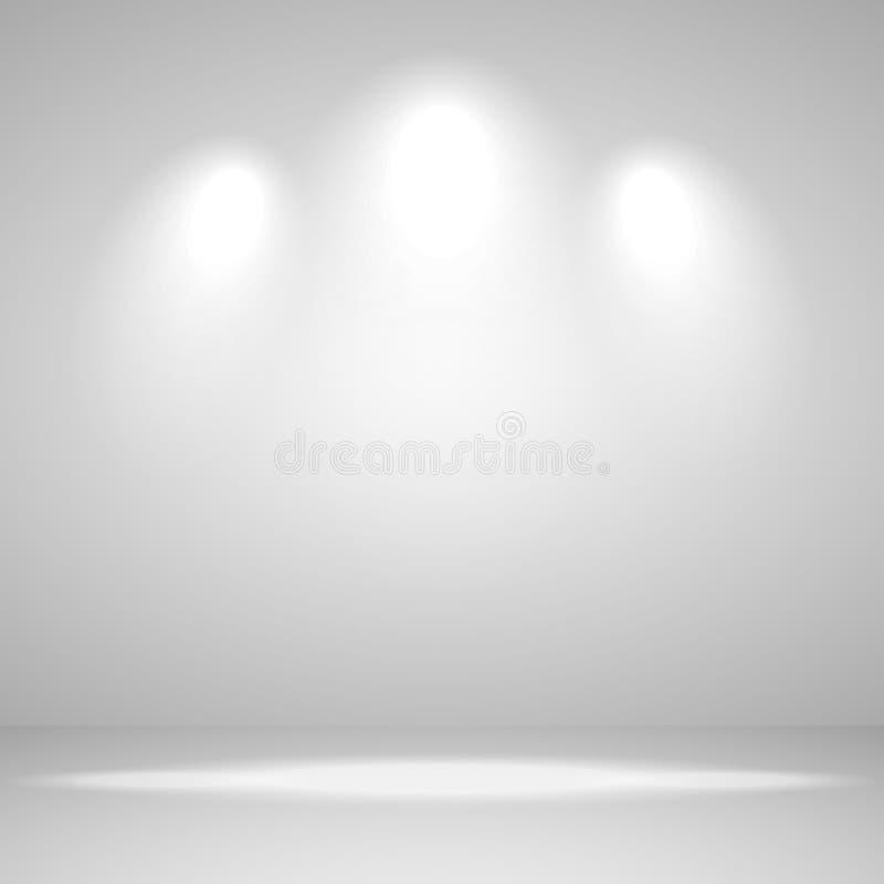 Leeres Raumstudio des abstrakten weißen Hintergrundes für Ausstellung und Innenraum mit Scheinwerferlicht, Vektorillustration vektor abbildung