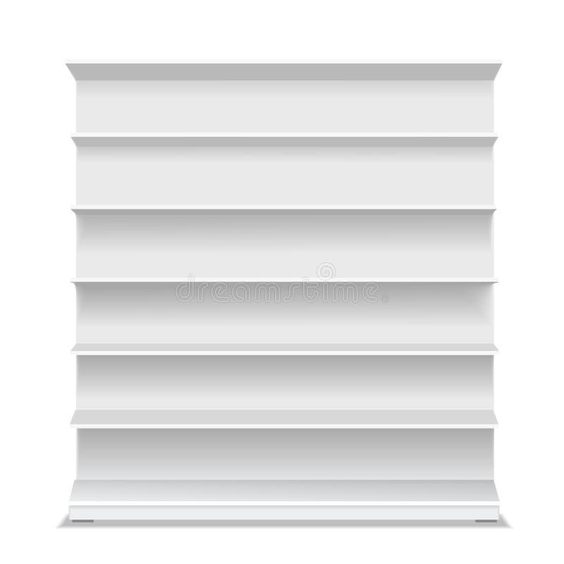 Leeres Regal des Supermarktes Leerer weißer langer Kleinschaukasten für Produkte auf weißem Hintergrund Abbildung des Vektor 3d lizenzfreie abbildung