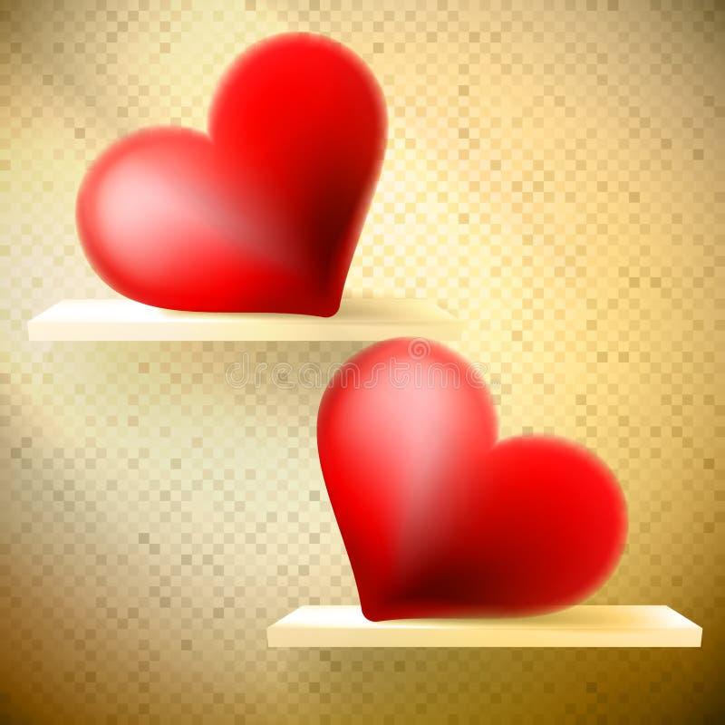 Leeres Regal mit roten Herzen. vektor abbildung