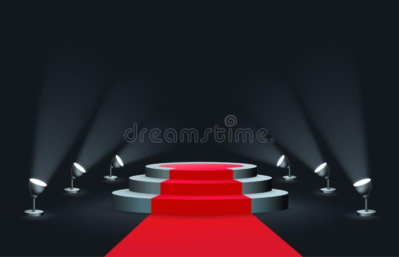 Leeres rundes Podium mit dem roten Teppich belichtet durch realistische Art der Scheinwerfer lizenzfreie abbildung
