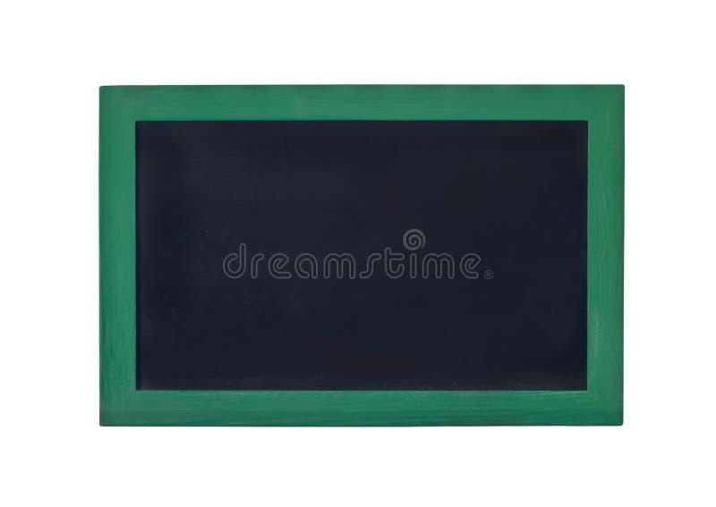 Leeres schwarzes Brett mit grünem Rahmen auf einem weißen Hintergrund stockfotos