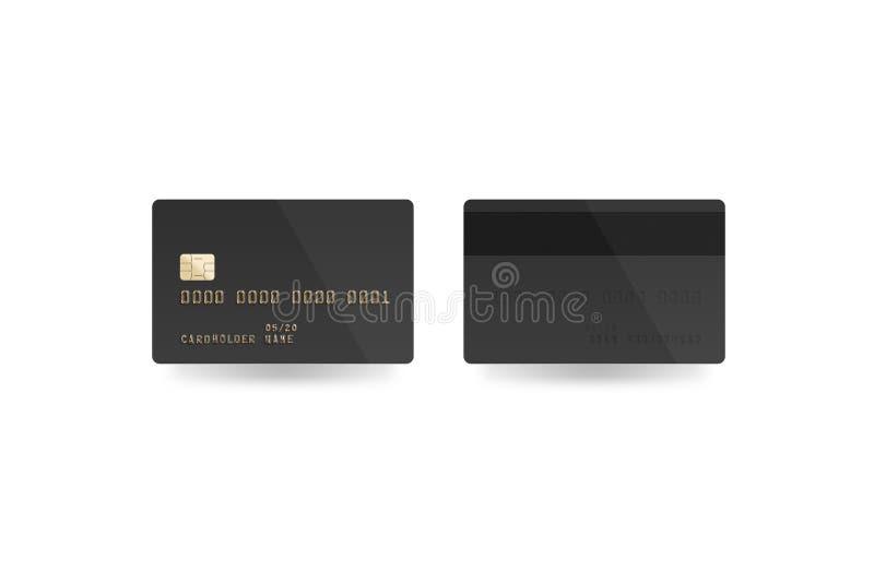 Leeres schwarzes Kreditkartemodell lokalisiert, Beschneidungspfad, stockbild