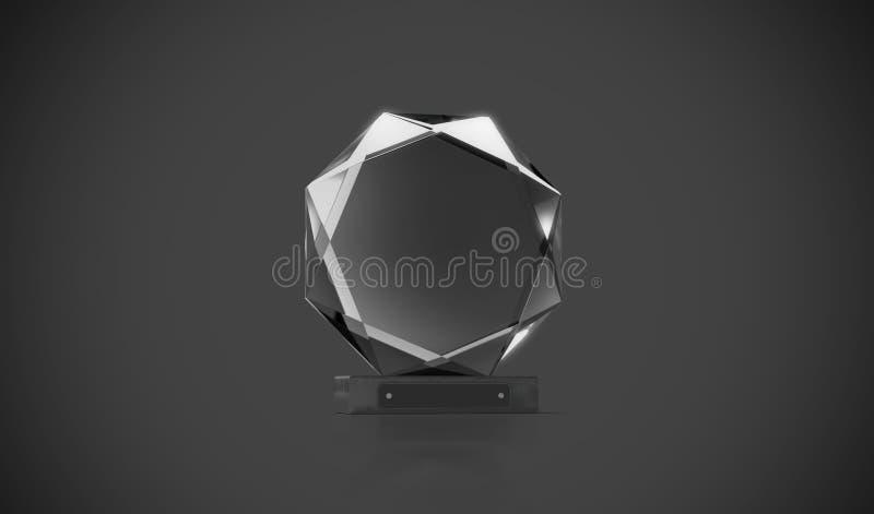 Leeres schwarzes rundes Glastrophäenmodell in der Dunkelheit lizenzfreie abbildung