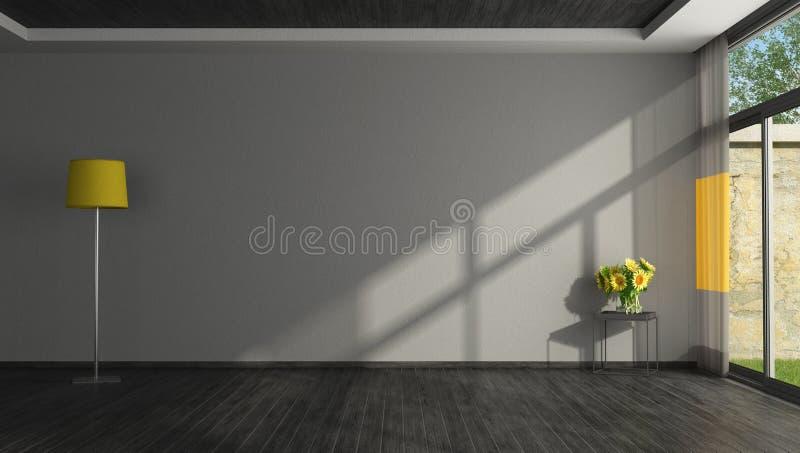 Leeres schwarzes und gelbes Wohnzimmer vektor abbildung