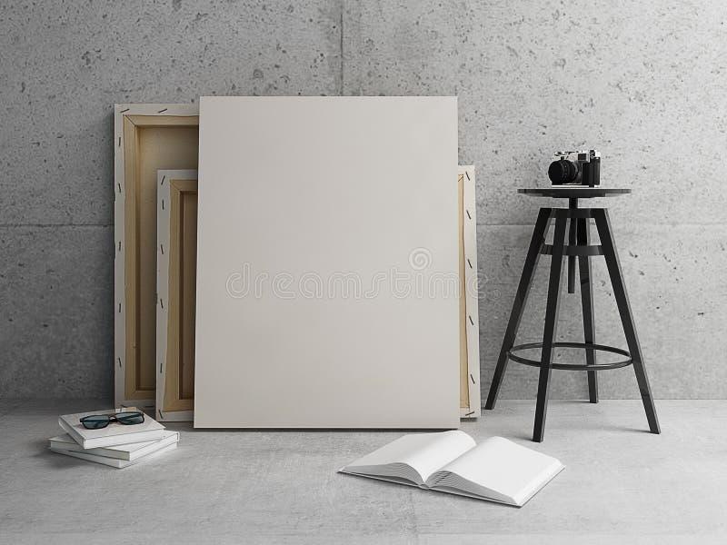 Leeres Segeltuch mit modernem konkretem Innenraum stockbilder