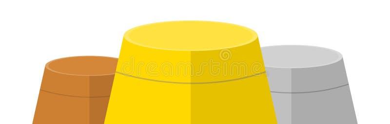 Leeres Siegerpodium mit zuerst, zweites und dritter Platz f?r Siegerehrung Gold-, Silber- und Bronzepreis Vektorillustration f?r stock abbildung