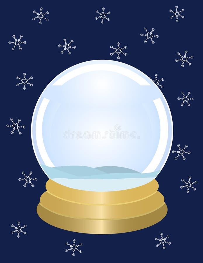 Leeres Snowglobe mit Schneeflocken stock abbildung