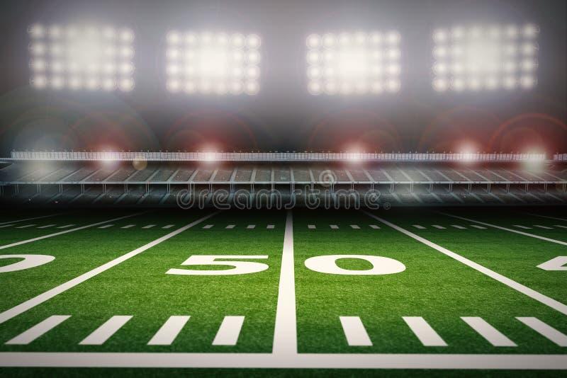 Leeres Stadion des amerikanischen Fußballs nachts vektor abbildung