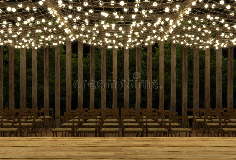 Leeres Stadium für Leistungen auf der Plattform des Sommers im Freien nachts Ge?ffnete Luft Dekorationen von leuchtenden Girlande lizenzfreie abbildung