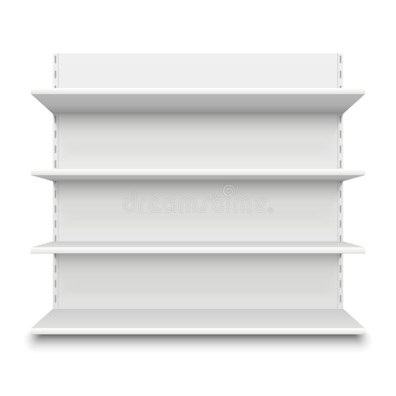 Leeres Supermarkt-Regal Weiße leere Regale des Einzelhandelsgeschäftes für Waren Lokalisierte Fachstand-Vektorillustration lizenzfreie abbildung