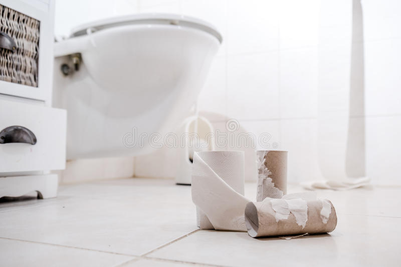 Leeres Toilettenpapier Rolls auf dem Boden lizenzfreie stockbilder