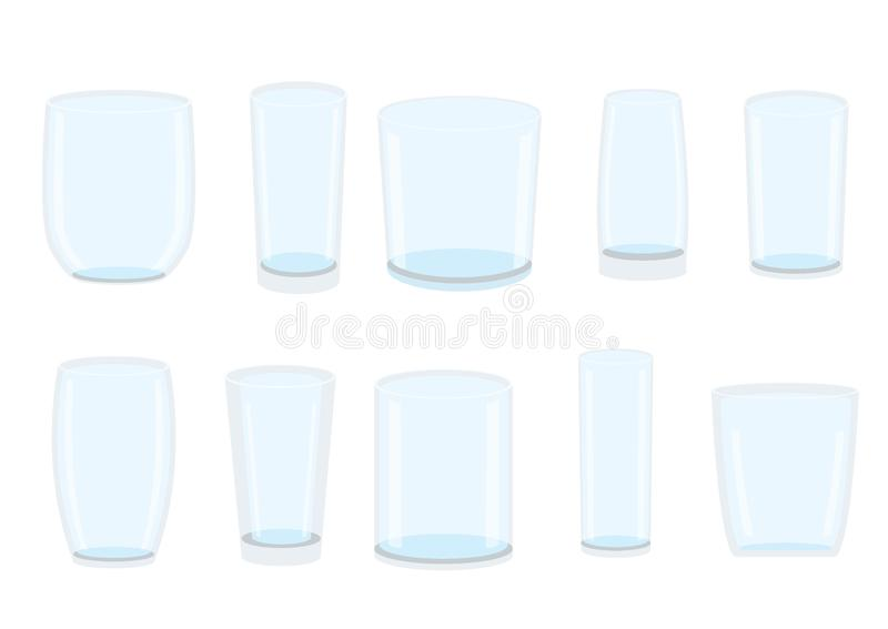Leeres trinkendes klares Glaswasser lokalisiert stock abbildung