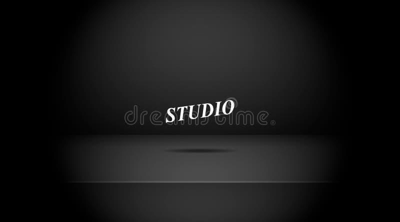 Leeres verdunkeltes schwarzes Farbstudio lizenzfreie abbildung
