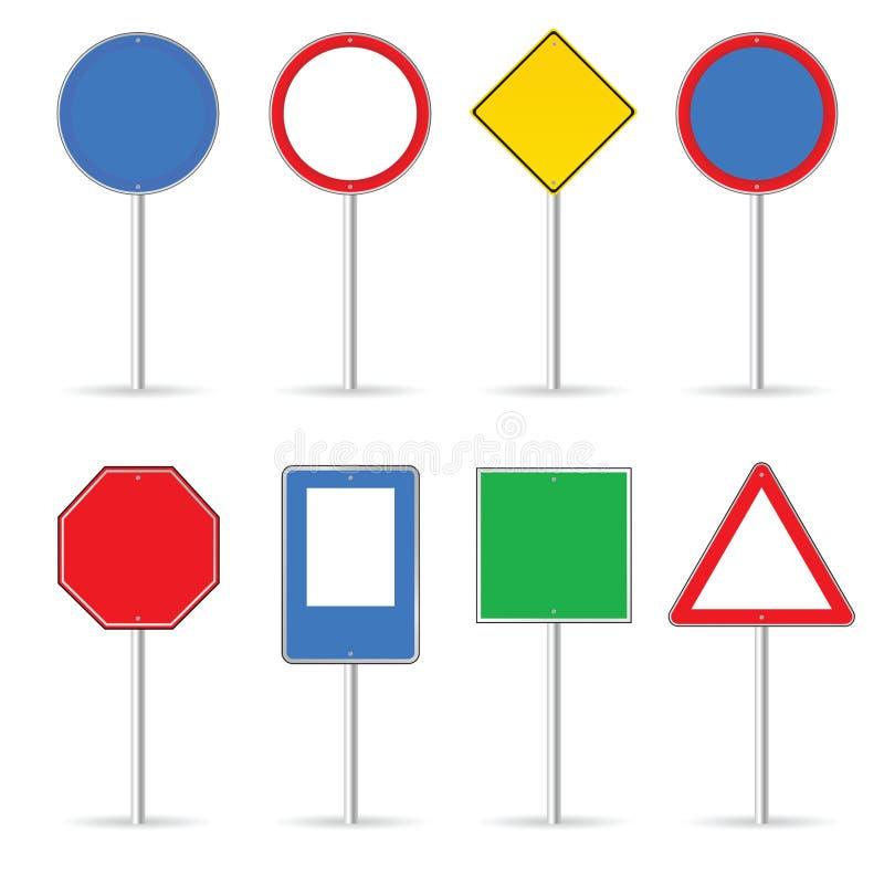 Leeres Verkehrszeichen stellte eine Vektorillustration ein stock abbildung