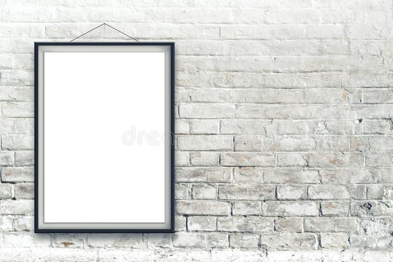 Leeres vertikales Malereiplakat im schwarzen Rahmen stockfoto
