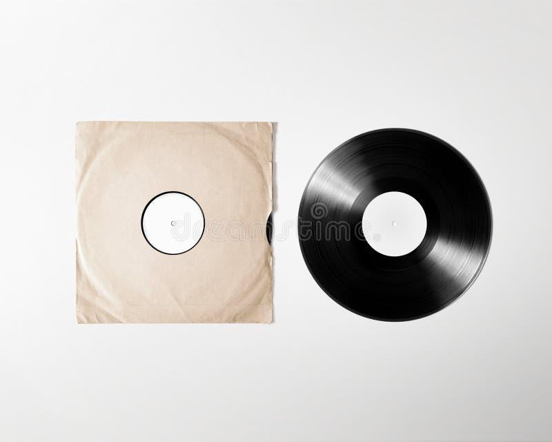 Leeres Vinylalbumabdeckungs-Ärmelmodell, Beschneidungspfad lizenzfreie stockfotos