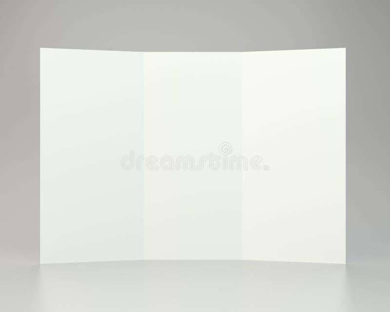 Leeres Weiß ausgebreitetes Papier A4 zerknittert Wiedergabe 3d stock abbildung