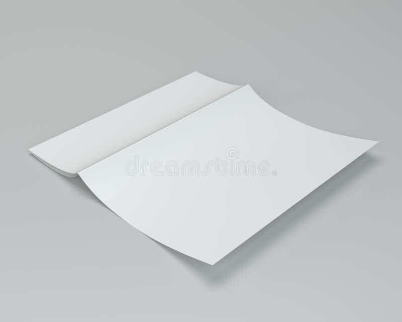 Leeres Weiß ausgebreitetes Papier A4 zerknittert Wiedergabe 3d lizenzfreie abbildung