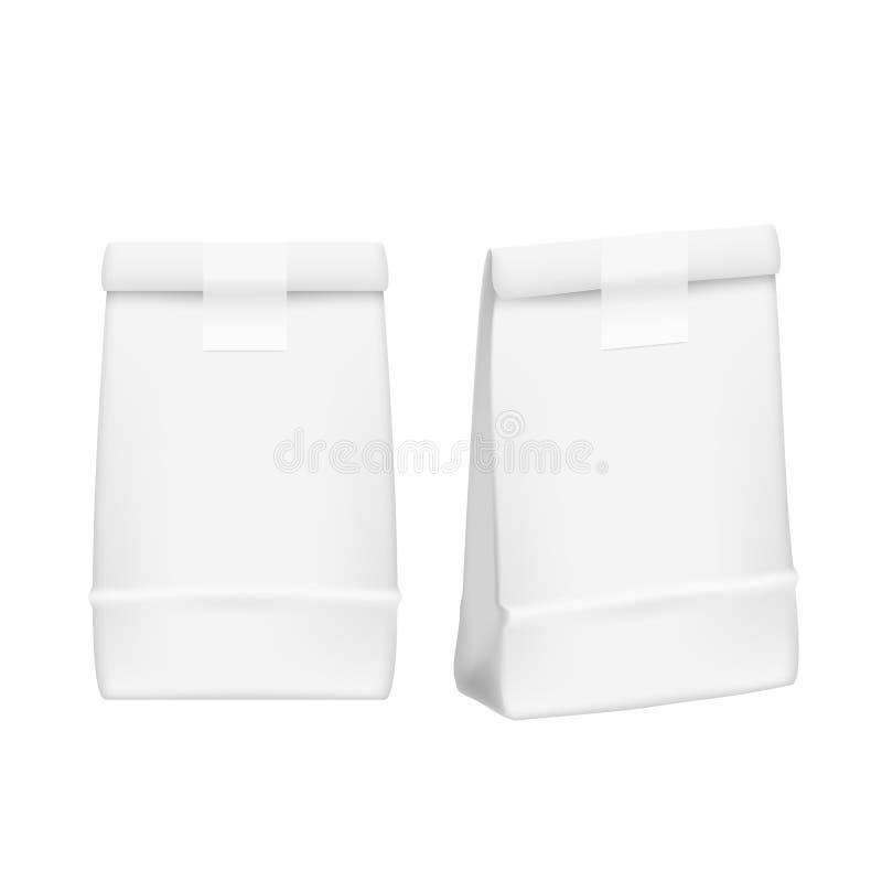 Leeres Weiß nimmt Nahrungsmittelkasten-Spott herauf Papppaket weg stock abbildung
