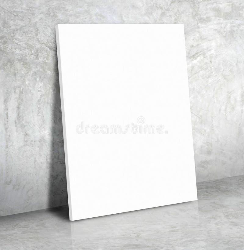 Leeres Weißbuchplakat auf dem grauen Betonmauer- und Zementflorida stockfotos