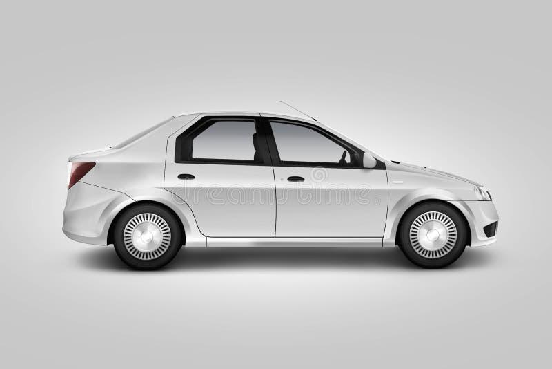 Leeres weißes Autodesignmodell, lokalisierte, Seitenansicht, Beschneidungspfad, stockfoto