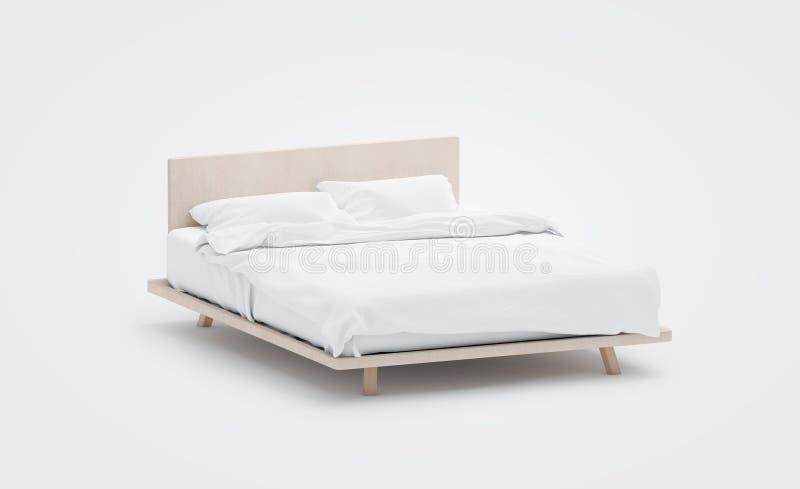 Leeres weißes Bett mit Kissenmodell, Seitenansicht, lokalisiert, lizenzfreie abbildung