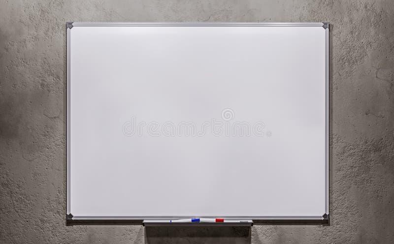 Leeres weißes Brett des Geschäftsdarstellungsbüros auf dem Betonmauerhintergrund Schein oben stockfoto