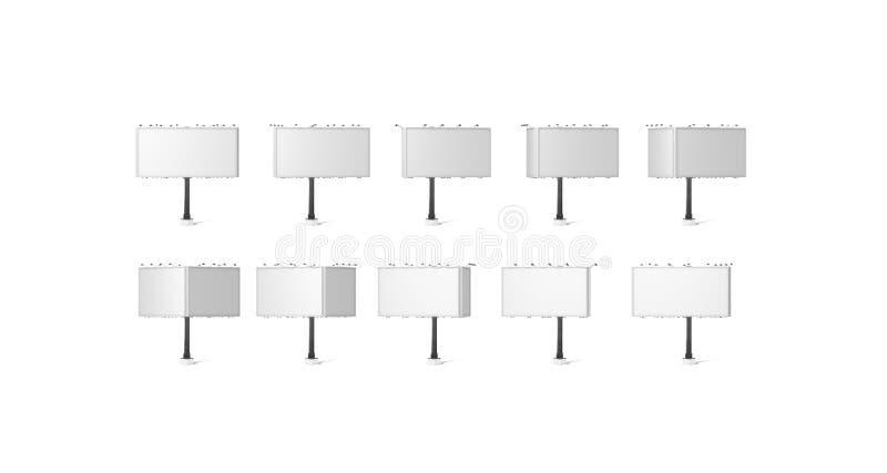 Leeres weißes Fahnenmodell, Seitenanschlagtafel der Stadt drei lizenzfreie stockfotografie