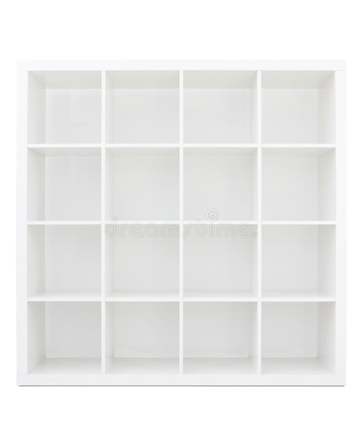 Leeres weißes hölzernes Bücherregal lizenzfreies stockfoto