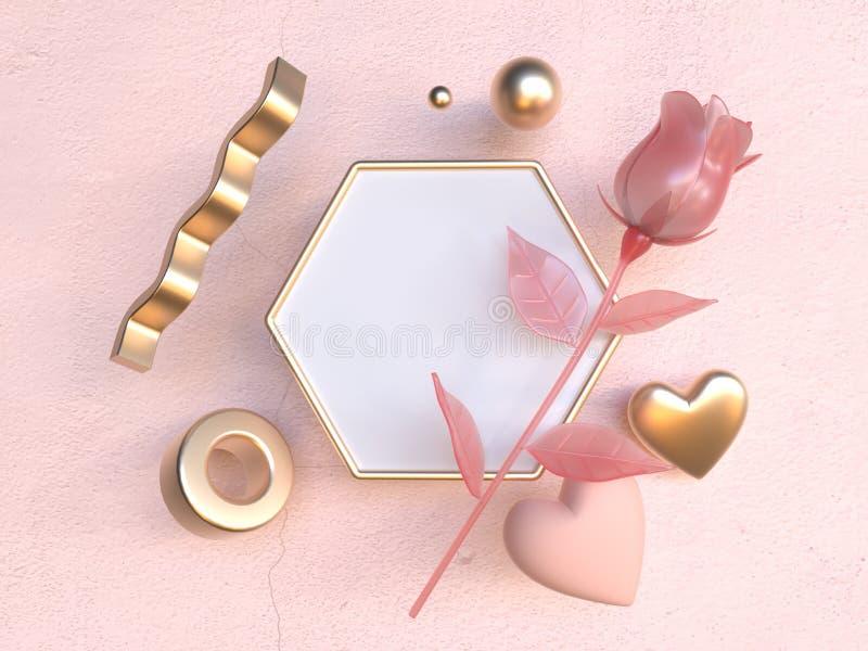 Leeres weißes Hexagonrahmenrosa stieg Romanze Wiedergabe des Konzeptes 3d der Valentinsgrußliebe vektor abbildung