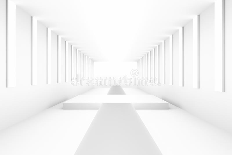 Leeres weißes leeres Podium für Planhintergrund Hintergrunddesignschablonen-PR-freien Raumes stock abbildung
