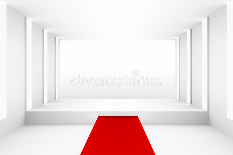 Leeres weißes leeres Podium mit rotem Teppich für Planhintergrund Hintergrunddesignschablonen-PR-freien Raumes vektor abbildung