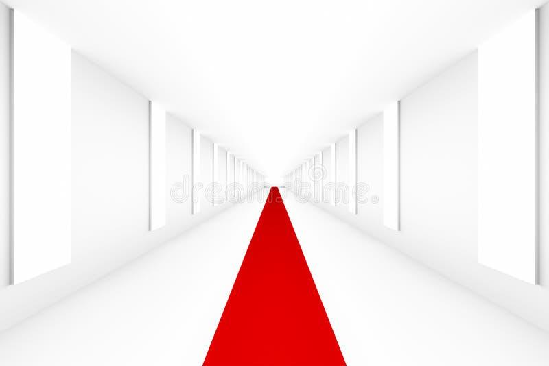 Leeres weißes leeres Podium mit rotem Teppich für Planhintergrund Hintergrunddesignschablonen-PR-freien Raumes lizenzfreie abbildung