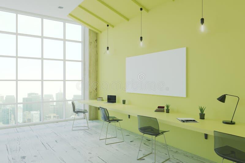 Leeres weißes Plakat auf grüner Wand vektor abbildung