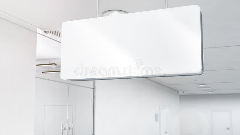Leeres weißes Plastiksignagemodell, Spitzenangebracht, Beschneidungspfad, lizenzfreie stockbilder