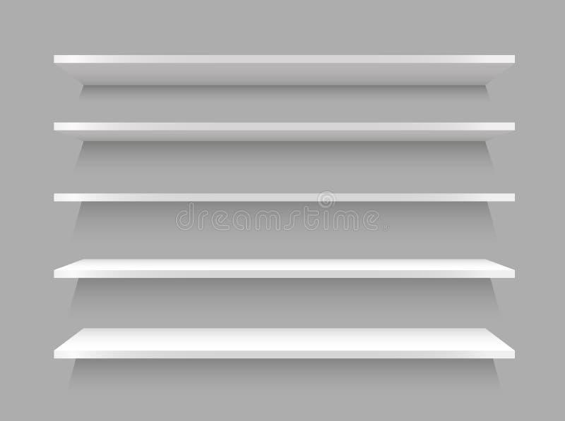 Leeres weißes Shopregal, realistisches Bücherregalrechteck, Schaukastenspeicher Auch im corel abgehobenen Betrag stock abbildung