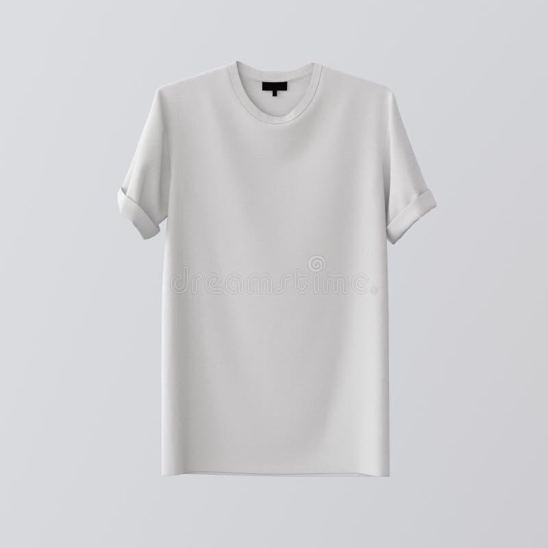 Leeres weißes Textilt-shirt lokalisierte Mitte Gray Empty Background Modell-in hohem Grade ausführliche Beschaffenheits-Materiali lizenzfreies stockbild