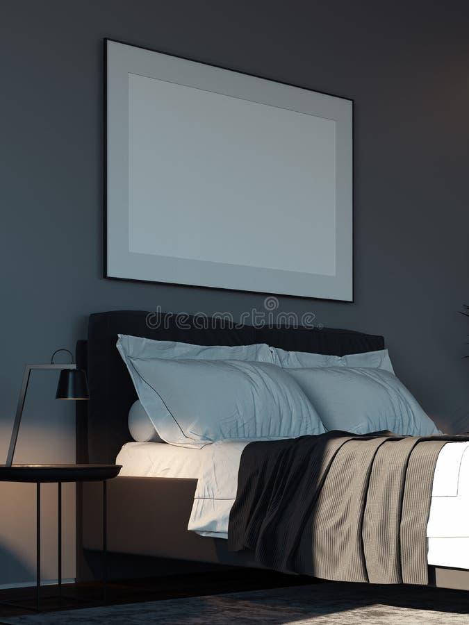 Leeres weißes Plakat im modernen stilvollen Schlafzimmer über gemütlichem Bett, Wiedergabe 3d vektor abbildung