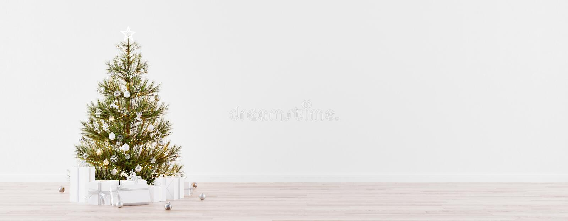 Leeres Weihnachtszimmer mit Tannenbaum, Geschenke und weiße Wandkopie Raum 3d Render lizenzfreie abbildung