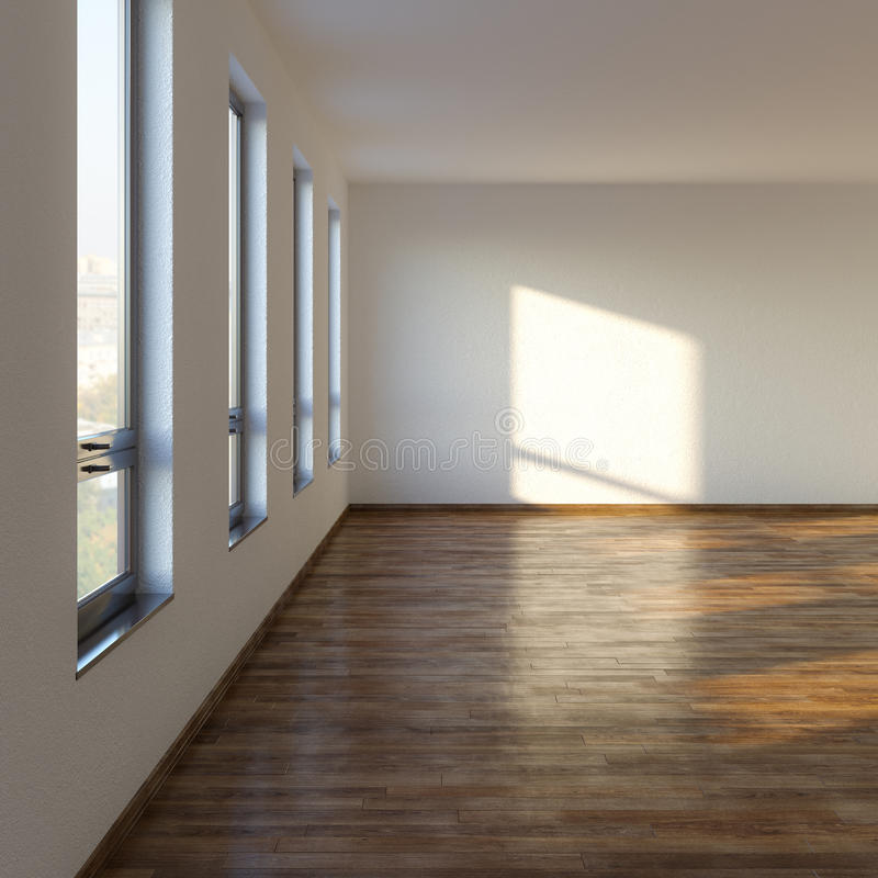 Leeres Wohnzimmer mit lamellenförmig angeordnetem Bodenbelag lizenzfreie abbildung