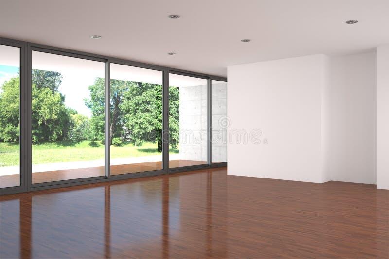 Leeres Wohnzimmer mit Parkettfußboden lizenzfreie stockfotos