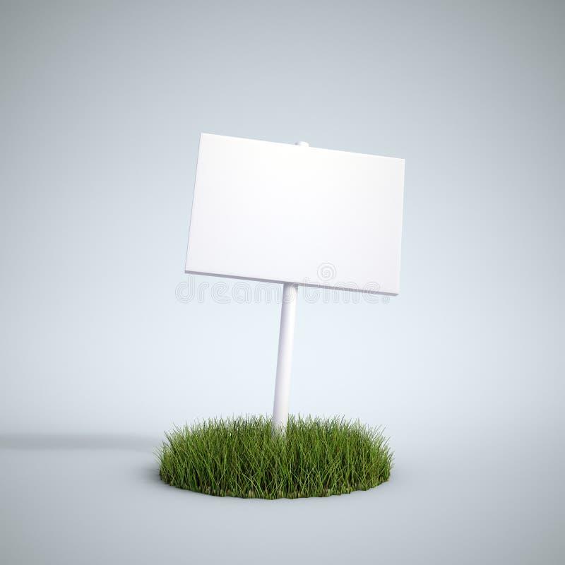 Leeres Zeichen auf einer Änderung am Objektprogramm des Grases lizenzfreie abbildung
