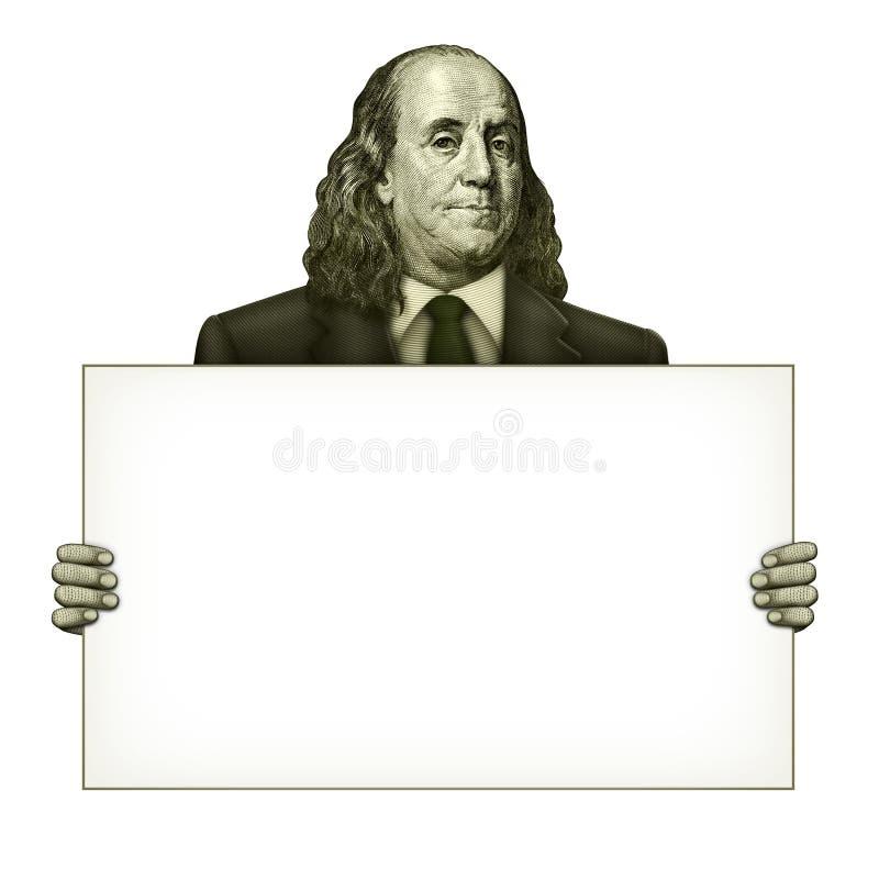 Leeres Zeichen gehalten von Benjamin Franklin lizenzfreie abbildung