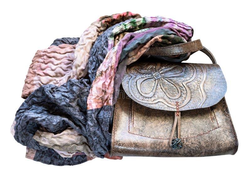 Leerhandtas van de lapwerksjaal die wordt verpakt royalty-vrije stock afbeeldingen