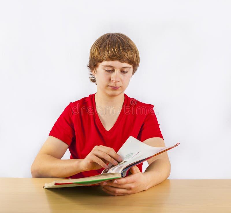 Leerling die voor school leren stock afbeelding